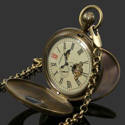 56557/复古男女士真铜黄铜纯铜机械怀表学生老式怀旧发条挂表收藏精品