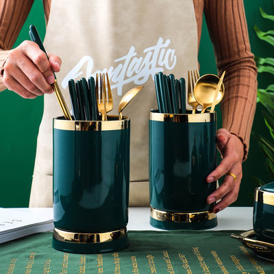 北欧轻奢祖母绿筷子筒笼陶瓷家用防霉厨房厨具刀叉勺筷沥水笼双层
