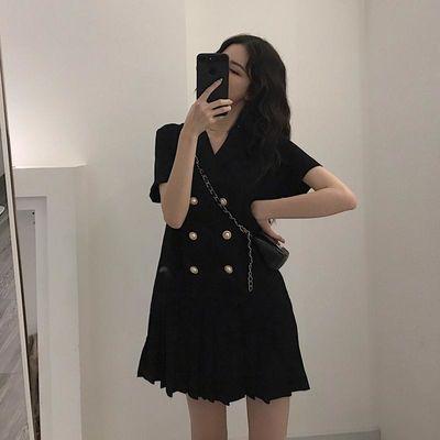大码女装2020夏季新款胖mm遮肚藏肉显瘦西装领短裙减龄洋气连衣裙