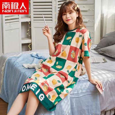 南极人睡衣女夏季纯棉短袖睡裙中长款韩版大码宽松薄款孕妇家居服