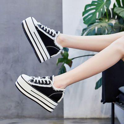 松糕鞋2019春季新款内增高12cm鞋超高跟皮小白鞋女厚底休闲单鞋