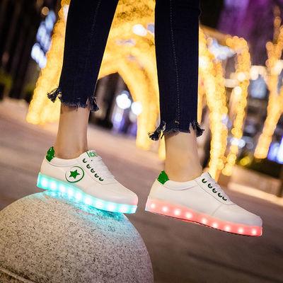 七彩发光鞋男女鞋usb充电鞋情侣夜光鞋防水鬼步舞板鞋荧光鞋灯鞋