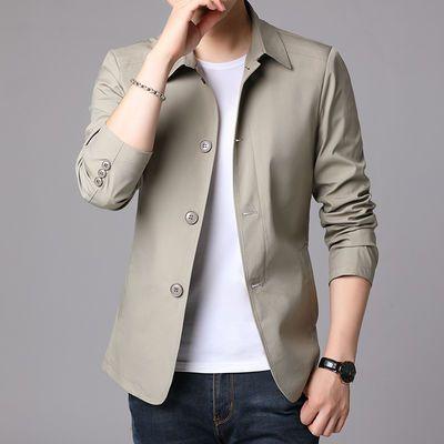 春秋薄中年男装夹克衫中老年人男士爸爸外套男新款工(正)装夹克