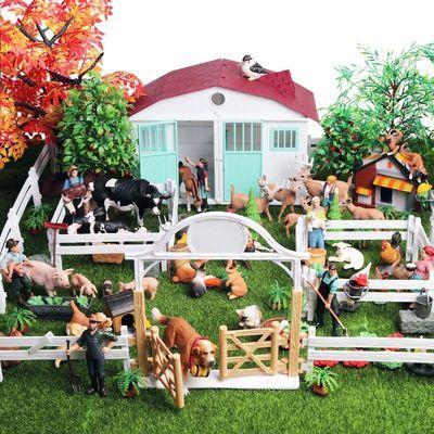。仿真动物玩具农场模型牧场房屋场景套装家禽鸡鸭鹅猪牛羊儿童认