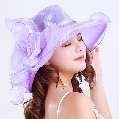 夏凉帽女遮阳帽遮脸防紫外线女士帽子夏季防晒夏天沙滩草帽太阳帽