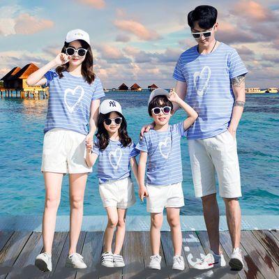 沙滩亲子装夏装一家四口三口网红母女母子装纯棉蓝色条纹t恤套装