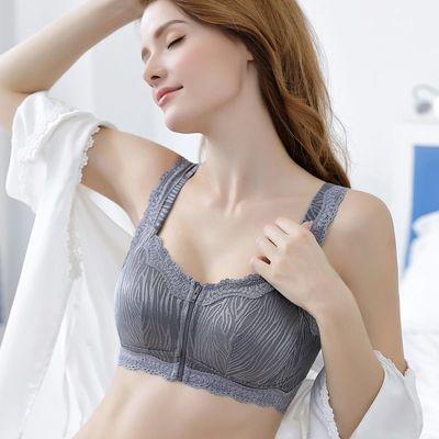 都市丽人前扣拉链胸罩无钢圈聚拢性感内衣女薄款大码文胸收副乳美