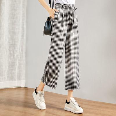 時然2020年夏季新品女款系帶顯瘦經典格紋氣質百搭時尚直筒休閑褲