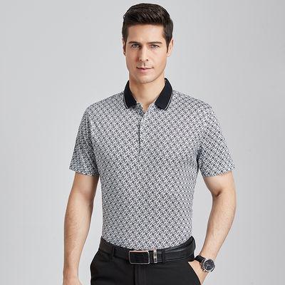 国民男装相思鸟夏新品方领印花棉质清爽顺滑T恤男式短袖POLO衫