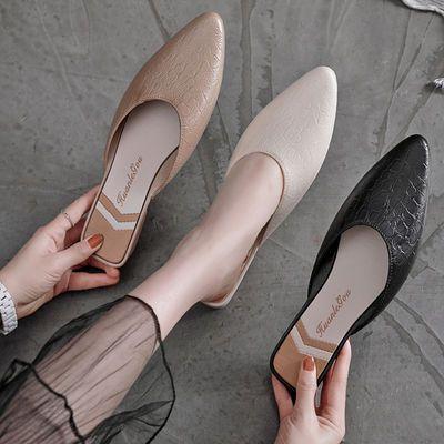 仿皮半拖鞋女夏包头半拖鞋平底孕妇凉拖透气豆豆鞋休闲懒人女单鞋