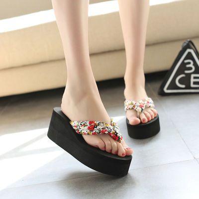 【跟高7CM和9CM】拖鞋女夏时尚坡跟韩版厚底凉拖高跟松糕花朵凉鞋