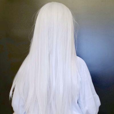 银白色中分长直抖音发套男女万用动漫cos古装影视道具化妆假发