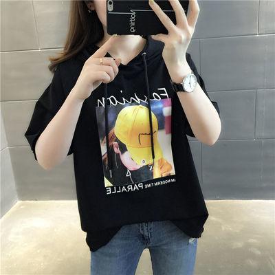 90棉卫衣女潮ins2020新款夏季时尚韩版宽松上衣薄款带帽中袖T恤衫