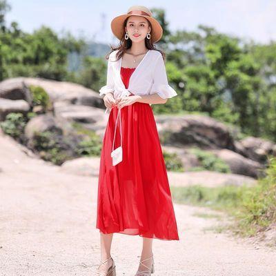 碎花雪纺吊带连衣裙两件套流行女装长裙2019夏季很仙的夏款裙子潮