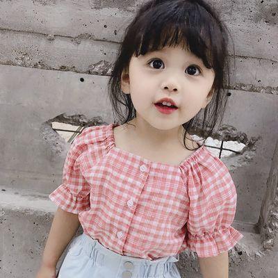 女童短袖衬衫2019夏季新款小童洋气夏装韩版宽松宝宝纯棉休闲衬衣