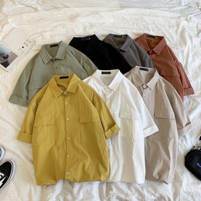 港仔文艺男夏季纯色短袖衬衫男士简约外套宽松潮牌潮流工装衬衣