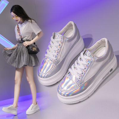 小白鞋女2020新款夏季韩版百搭网面透气松糕厚底内增高休闲运动鞋