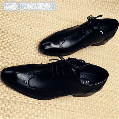 男士正装新款尖头皮鞋皮英伦流行百搭高跟婚鞋系带发型师皮鞋男