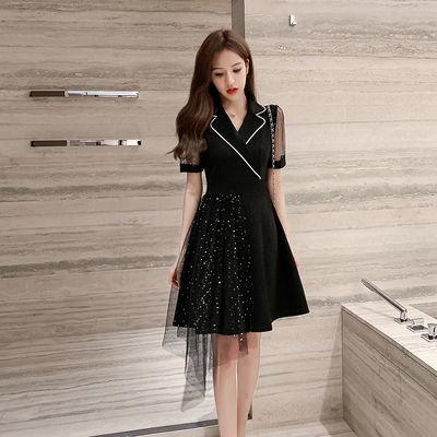夏季赫本风小黑裙收腰显瘦不规则网纱设计法式百褶西装领连衣裙女