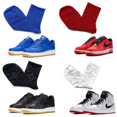 。AF1蓝丝绸白丝绸黑丝绸AJ1陈冠希运动袜搭配球鞋潮流中筒袜篮球