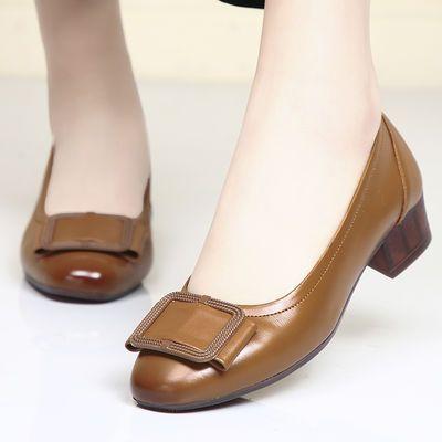2020新款春季浅口平底单鞋女皮低跟春款百搭粗跟小皮鞋春秋女鞋