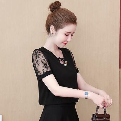 2020夏季新款韩版蕾丝打底衫钉珠短袖V领时尚T恤修身百搭妈妈装女