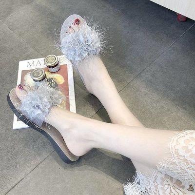 毛毛拖鞋女2019夏季新款韩版时尚百搭学生懒人外穿一字拖平底凉拖