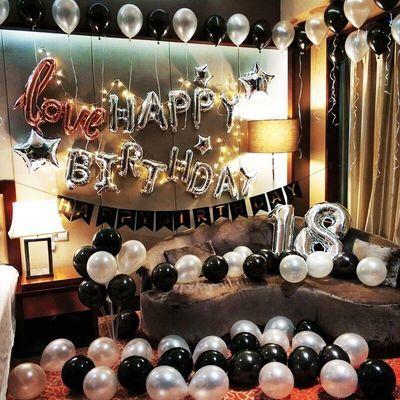 置英文生日快乐气球铝膜浪漫惊喜生日派对装饰用品套餐成人生日布