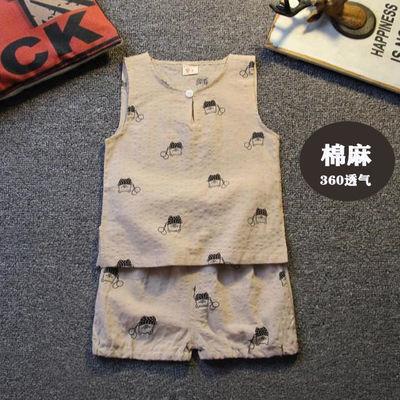 男女儿童宝宝纯棉背心短袖短裤棉麻套装中小童T恤夏季薄款内外穿