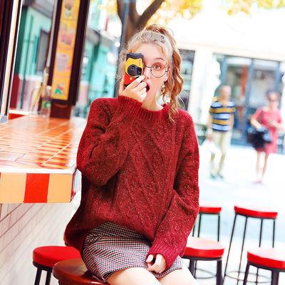 库恩玛维网红车厘子红色麻花宽松毛衣女新款针织衫慵懒风外穿上衣