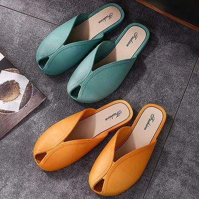 百搭时尚懒人包头凉拖鞋女夏韩版网红奶奶鞋潮流半拖鱼嘴鞋沙滩鞋