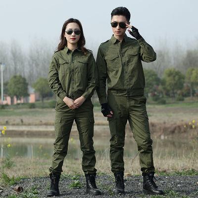 夏季薄款棉线工作服套装男女军装长袖短袖军绿色迷彩服套装劳保服