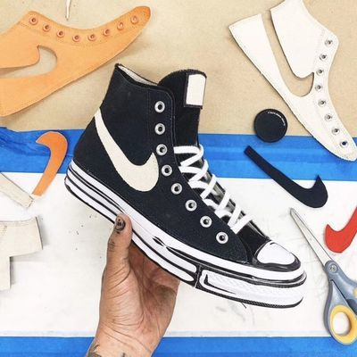 Joshua Video1970 涂鸦联名合作款高帮帆布鞋  偏大一码