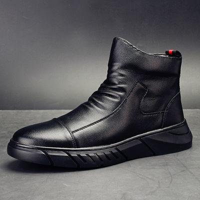 蜘蛛王G5 CONXEGN真皮牛皮马丁靴新款加绒棉靴秋冬高帮男士皮鞋雪