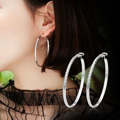 S925银大小耳圈女韩国个性气质耳坠耳钉简约耳饰圆形圆圈圈款耳环