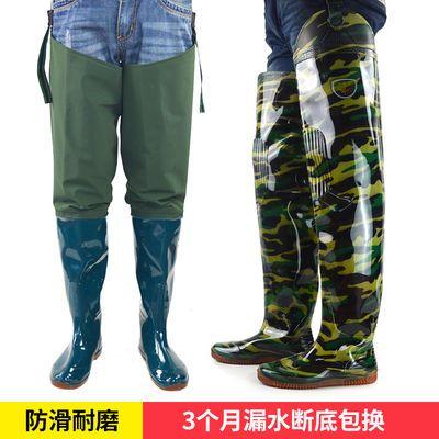 PVC防水加长筒插秧鞋防滑捕鱼雨靴钓鱼裤过膝高筒下水裤半身