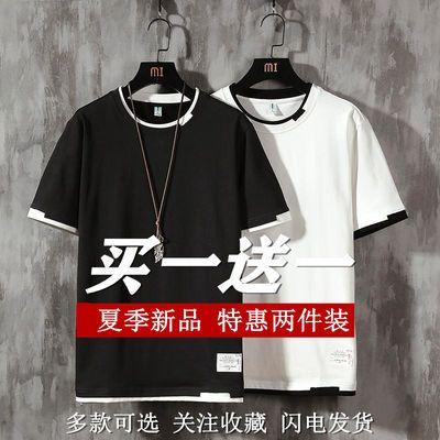 潮牌假两件短袖t恤男学生夏季潮流百搭青少年打底衫半袖体恤上衣