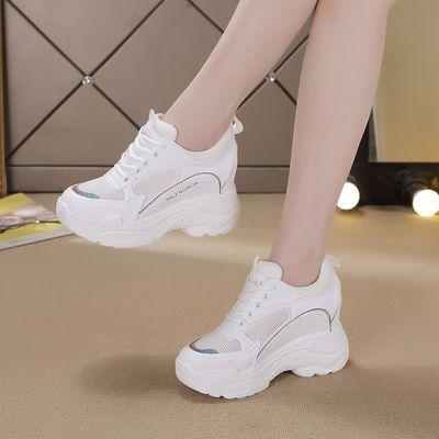 网面老爹鞋女2020新款韩版百搭夏季休闲透气运动鞋内增高小白鞋女