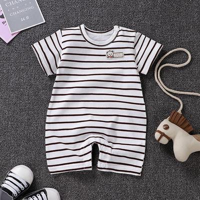 婴儿纯棉薄款短袖连体衣0-2岁男宝夏季爬服女宝哈衣0-6新生儿睡衣