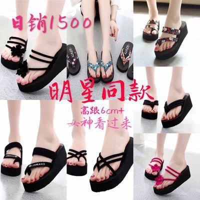 新款夏天中高厚底凉鞋女沙滩鞋子女人字拖女士学生外穿女凉拖鞋女
