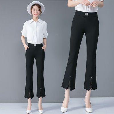 微喇叭裤女春夏季2020新款高腰修身西裤显瘦黑色开叉休闲九分裤子