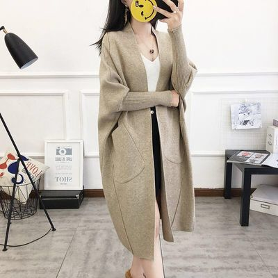 2020春季新款韩版开衫女中长款蝙蝠袖外套过膝宽松大码毛衣针织衫
