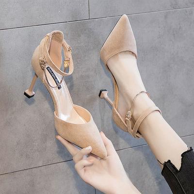 名媛2020春夏新款少女高跟鞋百搭小清新尖头一字扣仙气单鞋女细跟
