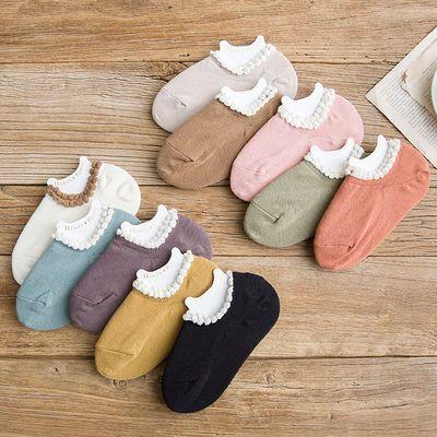 4双装花边船袜女生纯棉浅口低帮隐形秋冬季硅胶防滑短袜可爱日系