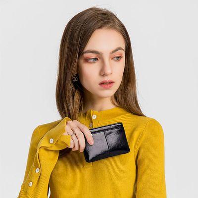 2020新款油蜡皮小零钱包拉链硬币包短款小钱包钥匙手包简约卡包女