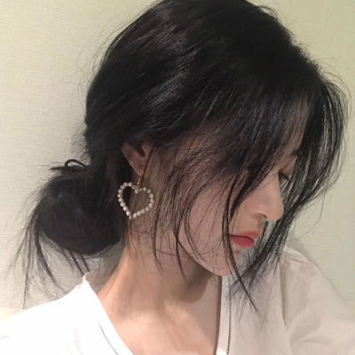 耳环耳钉女韩版气质大爱心珍珠女士耳坠网红超仙耳夹无耳洞耳饰