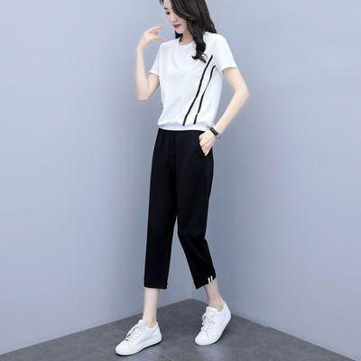 XWI 九分裤套装女士2020夏季韩版简约休闲两件套圆领短袖T恤套装