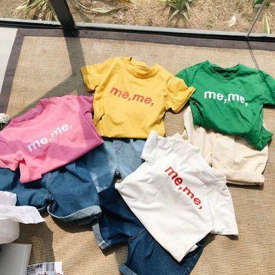 童装2020夏季新款 中小童舒适短袖圆领套头上衣 儿童字母宝宝T恤