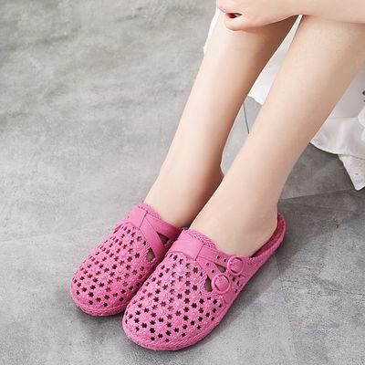夏季新款洞洞沙滩浴室花园凉拖鞋女防滑凉拖包头透气半拖平底鞋