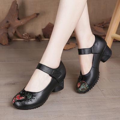 博芙妮真皮单鞋女粗跟软底复古妈妈皮鞋中老年跳舞女鞋奶奶牛皮鞋